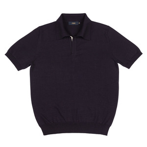 Pima cotton Summer half polo knit Navy