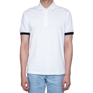 Studded collar polo shirt White