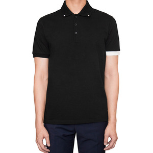 Studded collar polo shirt Black