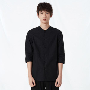 COTTON COLLARLESS 3l4 SLEEVE SHIRT BLACK
