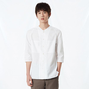 COTTON COLLARLESS 3l4 SLEEVE SHIRT WHITE