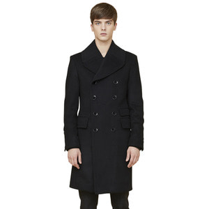arene double breasted coat - black