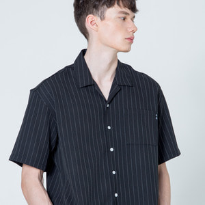 OPEN COLLOR 1/2 SHIRTS - BLACK