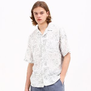 OPEN COLLAR PAISLEY LINEN SHORT SHIRT WHITE