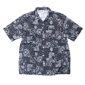 OPEN COLLAR PAISLEY LINEN SHORT SHIRT NAVY