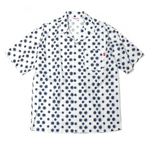 OPEN COLLAR DOT SHORT SHIRT WHITE