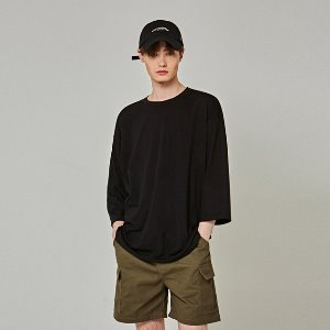 [얀13] SILKY OVER 3/4 T-SHIRTS_BLACK
