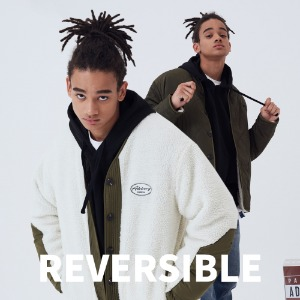 (양면)REVERSIBLE Y NECK FLEECE JACKET [KHAKI]