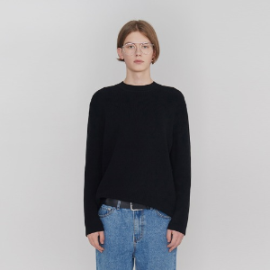 Cotton Hem Round Knit_Black