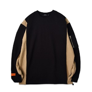 REAL POCKET SWEATSHIRT_BLACKBEIGE