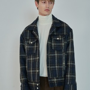 [트립르센스] WOOL CHECK SEMI OVER TRUCKER JACKET_NAVY