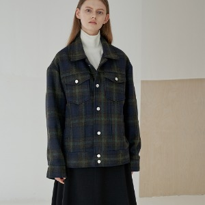 [트립르센스] WOOL CHECK SEMI OVER TRUCKER JACKET_KHAKI