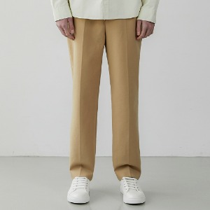 Fine Cotton Straight Fit Slacks_Camel beige